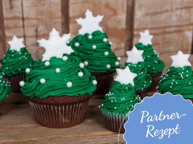 Muffin Tannenbaum.Laktosefreie Weihnachtsbaumcupcakes